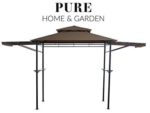Pure Home & Garden Grill Pavillon San Lorenzo, wasserabweisend mit stabilen Seitenablagen und klappbaren Seitenteilen