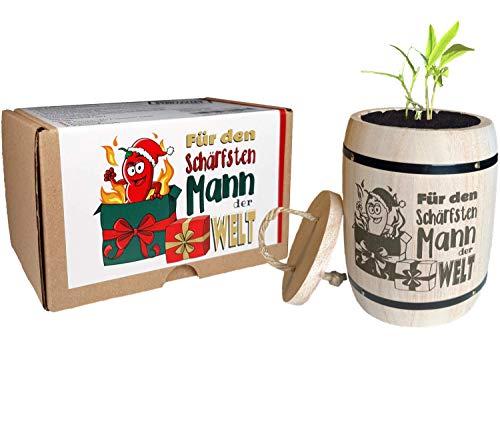 Geschenk für Männer Weihnachten - Anzuchtset Chili Für den schärfsten Mann der Welt - Weihnachtsgeschenk Wichtelgeschenk