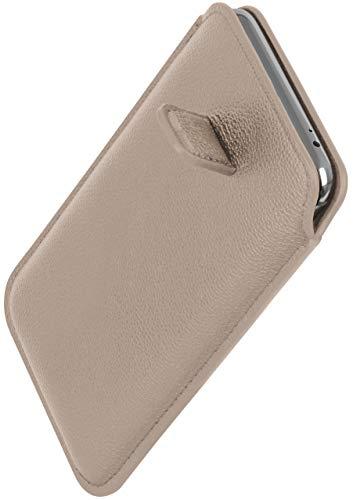 ONEFLOW Schlanke Einsteckhülle mit Rückzug-Funktion kompatibel mit Samsung Galaxy S10e | Premium Microfaser Innenfutter + robuste Zug-Lasche, Hell-Grau