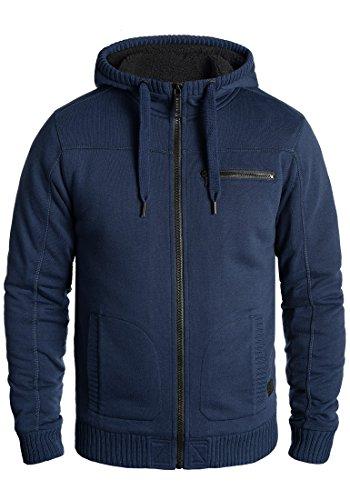 Blend Moreno Herren Winter Sweatjacke Kapuzen-Jacke Zip-Hoodie Pullover mit Teddy-Futter, Größe:XL, Farbe:Dark Blue (74629)