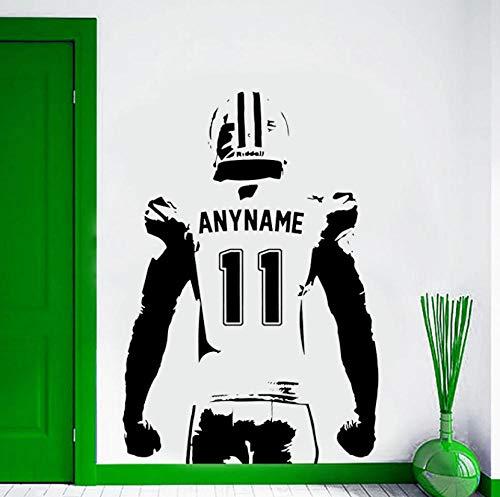 Benutzerdefinierte Name & No. American Football Player Wandaufkleber Vinyl Wohnkultur Kinderzimmer Jungen Schlafzimmer Teens Drom Decals Poster 42x61 cm