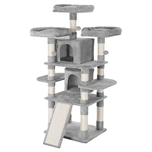 "FEANDREA 67"" Multi-Level Cat Tree for Large Cats, with Cozy Perches, Stable Cat Tower Cat Condo Pet Play House UPCT18W"