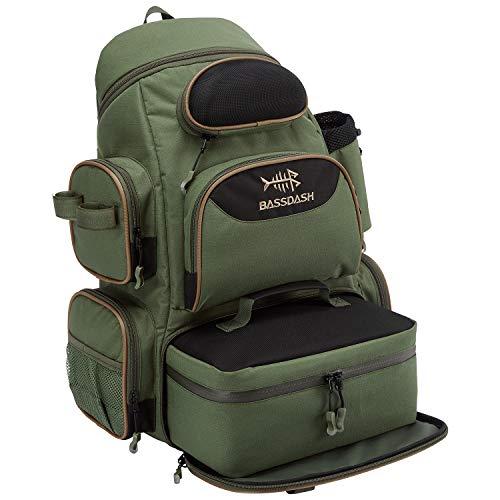 Bassdash Wasserabweisender Angel-Rucksack mit abnehmbarer isolierter Lunchtasche, Rutenhalter und Regenschutz für Männer und Frauen - - Small