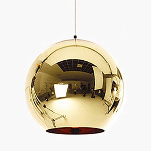 Huahan Haituo Hängeleuchte mit modernem Lampenschirm, Kupfer, verspiegelt, Kugel aus Chrom, mit Kabel von 120 cm, Durchmesser 15 cm, 20 cm oder 25 cm, E27, 40-100 watts (Golden, 20cm)
