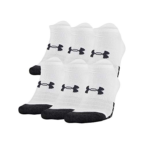Under Armour Performance Tech No Show Socks, 6-Pairs, White, Shoe Size: Mens 9-12.5/Womens 11-13
