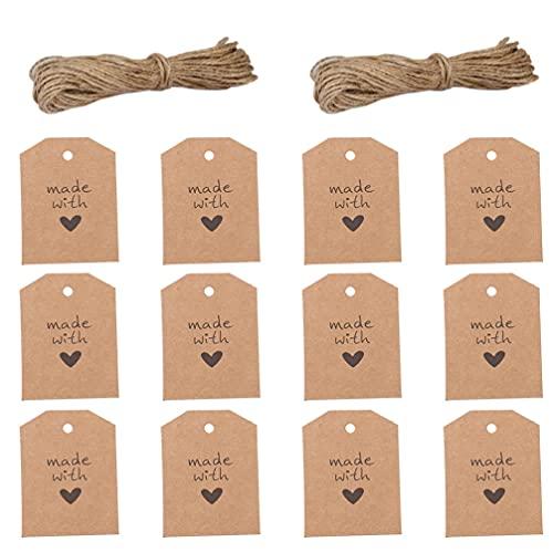 Amosfun 100Pcs Gemacht mit Liebe Kraft Papier Tags Handgemachte Papier Tags Papier Hängenden Label für Home Shop Bar Küche Hochzeit Box Dekoration