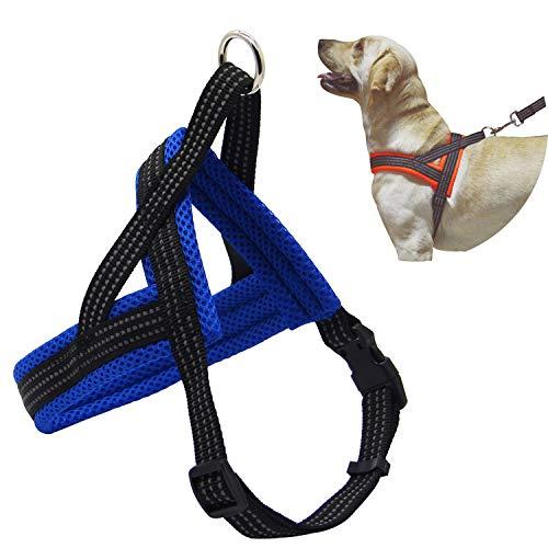 BPS® Arnés Correa para Perros Mascotas Collar Ajustable 4 Tamaños Colores para Elegir para Perro Pequeño Mediano y Grande (S, Azul) BPS-3881A
