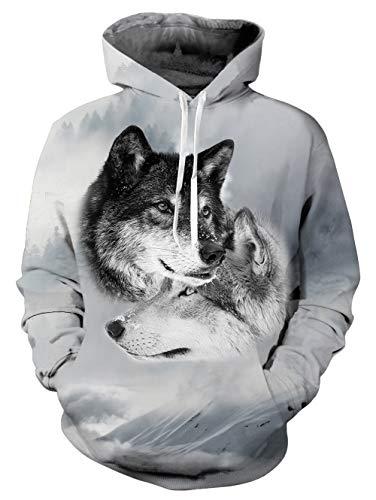 TUONROAD Hoodie Hombre Funny Lobo 3D Impreso Blanco Sudaderas con Capucha Ligero Unisex Sweatshirt Confortable Pullover Colorido Manga Larga Sweater Hoody con Bolsillos Cordón S-M