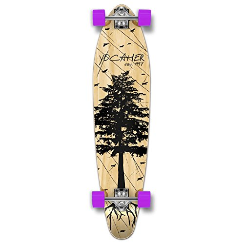 Yocaher in The Pines Natural Longboard Complete Skateboard - Available in All Shapes (Kicktail)