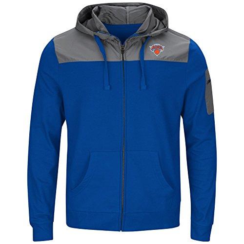 Profile Big & Tall NBA New York Knicks Full Zip Poly Fleece Sweat Shirt, Roy/Storm Grey, 4X image