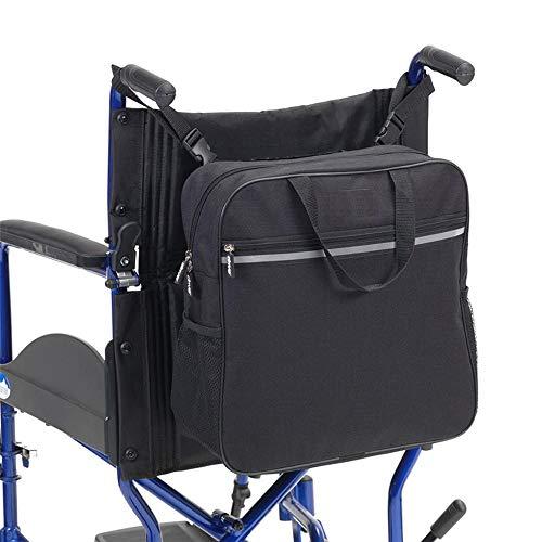 WAGX Rollstuhl-Rucksack Tasche, Schwarz Rollstuhl Tasche mit Reflektor-Streifen - große Tasche mit Reißverschluss, seitliche Netztaschen - Passend für Scooter, Elektro-Rollstühle und Etc