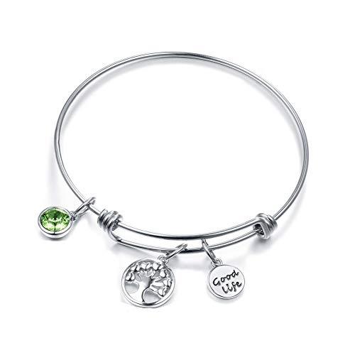 ATEIELLI Charm Armband Lebensbaum Grün Zirkonia Erweiterbare Armreifen Damen Geschenke jwb151
