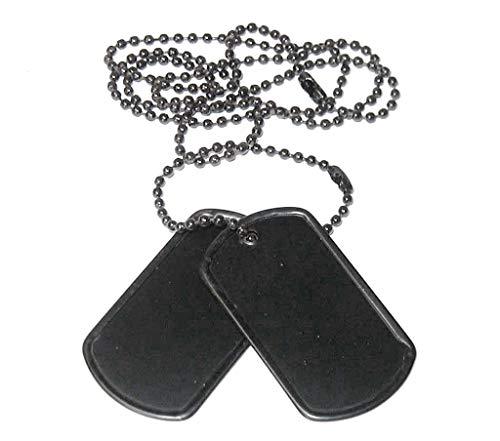 2er Set US Army Erkennungsmarke mit Ketten Hundemarke Dog Tag Farben: Schwarz, Silber oder Gold (Schwarz)