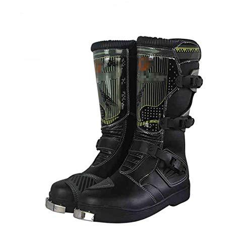 Botas de moto de Motorbike de acero inoxidable Off-Road Motorbike Flowered Motorcycle Riding Zapatos de motocicleta Anti-Collision Professional Boots para hombres de chicos para hombre-negro_42