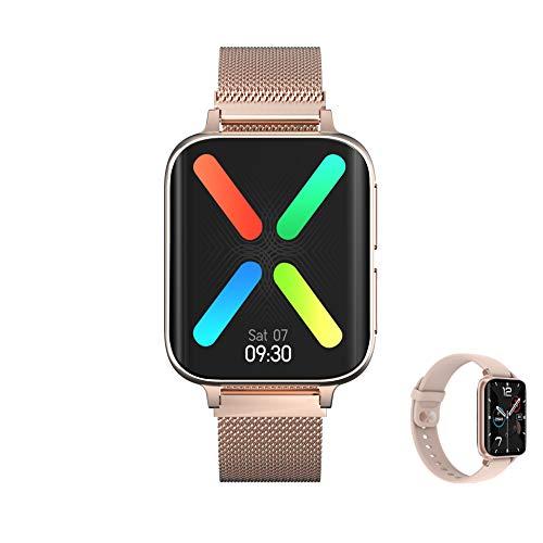 Aliwisdom Smartwatch per Uomo Donna Bambini, Smart Watch con chiamate Bluetooth e promemoria Whatsapp e Lettore Musicale, Fitness Tracker Impermeabile Orologio Fitness per iPhone Android (Oro Rosa)