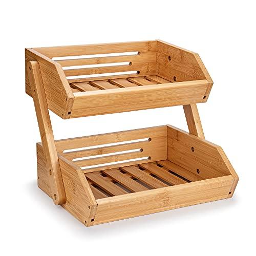 Merysen Cesta de Frutas de Bambú, 2 Niveles Estante para Frutas, Cuenco de Frutas Decorativo, Organizador de Soporte de Almacenamiento para Pan y Verduras para Cocina