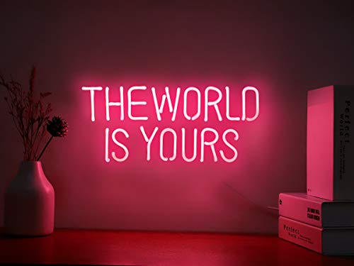 Neon Signs The World is Yours Pink Neon Light Sign Hanging Neon Sign Real Neon Lights Neon Wall Sign...