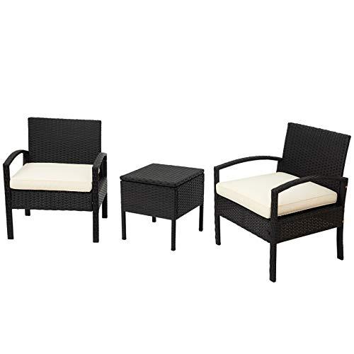 ADIBY Rattan Möbelsets 2 Sessel Stuhl,Moderne Rattansitze Garten Möbel,1 Couchtisch mit Glasplatte und Stauraum,Beiges Kissen, Geeignet für Terrasse,Balkon oder Pool,Schwarz Rattan