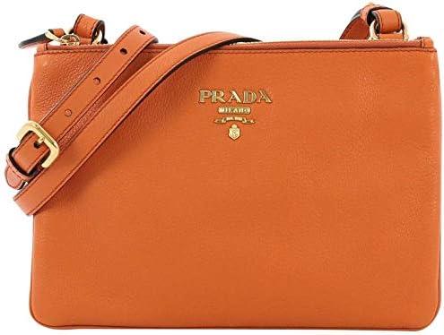 Prada Orange Papaya Vitello Leather Phenix Designer Crossbody Handbag for Women 1BH046 product image