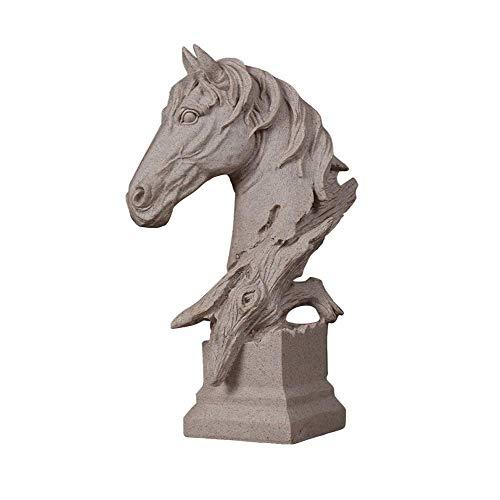 QULONG Estatua Grande de Cabeza de Caballo, Figura de Piedra Arenisca de Resina, Escultura, Regalo de Empresa de jardín, hogar y Oficina, pequeña