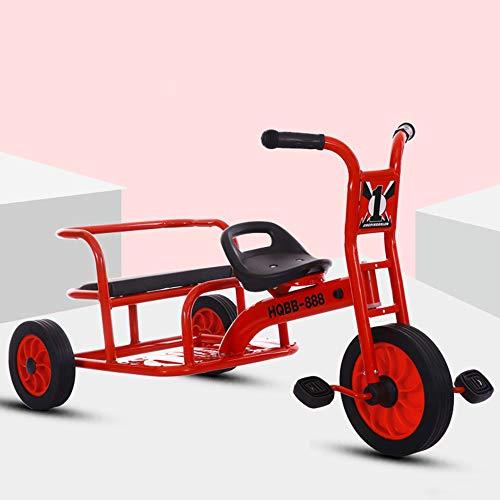 Baby Doppelauto | Dreirädriges Kinderfahrrad | Kindergarten Spielzeugauto, Kohlenstoffstahlrahmen | Verschleißfeste Gummiräder, Maximale Tragfähigkeit 100kg