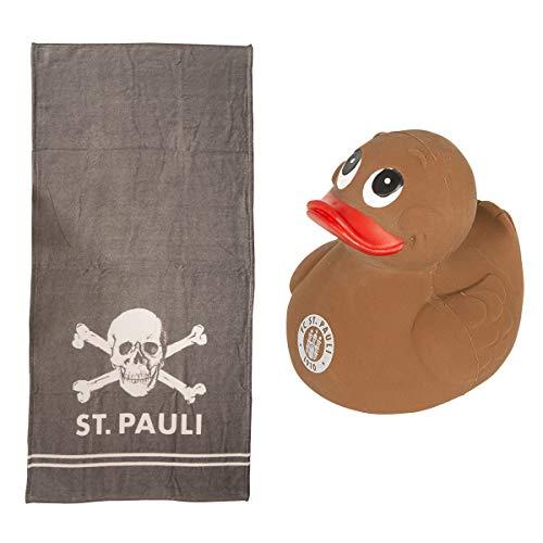 FC St. Pauli Set Schwimmente mit Logo braun & Badetuch Totenkopf grau