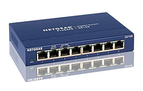 NETGEAR (GS108) Switch Ethernet 8 Ports RJ45 Métal Gigabit (10/100/1000), switch RJ45 pour une Connectivité Simple et Abordable, Protection ProSAFE, Garantie à Vie Idéal pour les PME et TPE