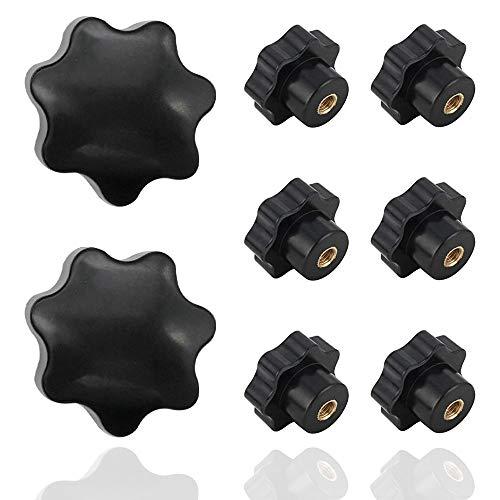 8 Pcs Bouton de Serrage M6 Plastique Noir en Forme D'étoile Vis Papillon Boutons de Réglage M6 x 32mm
