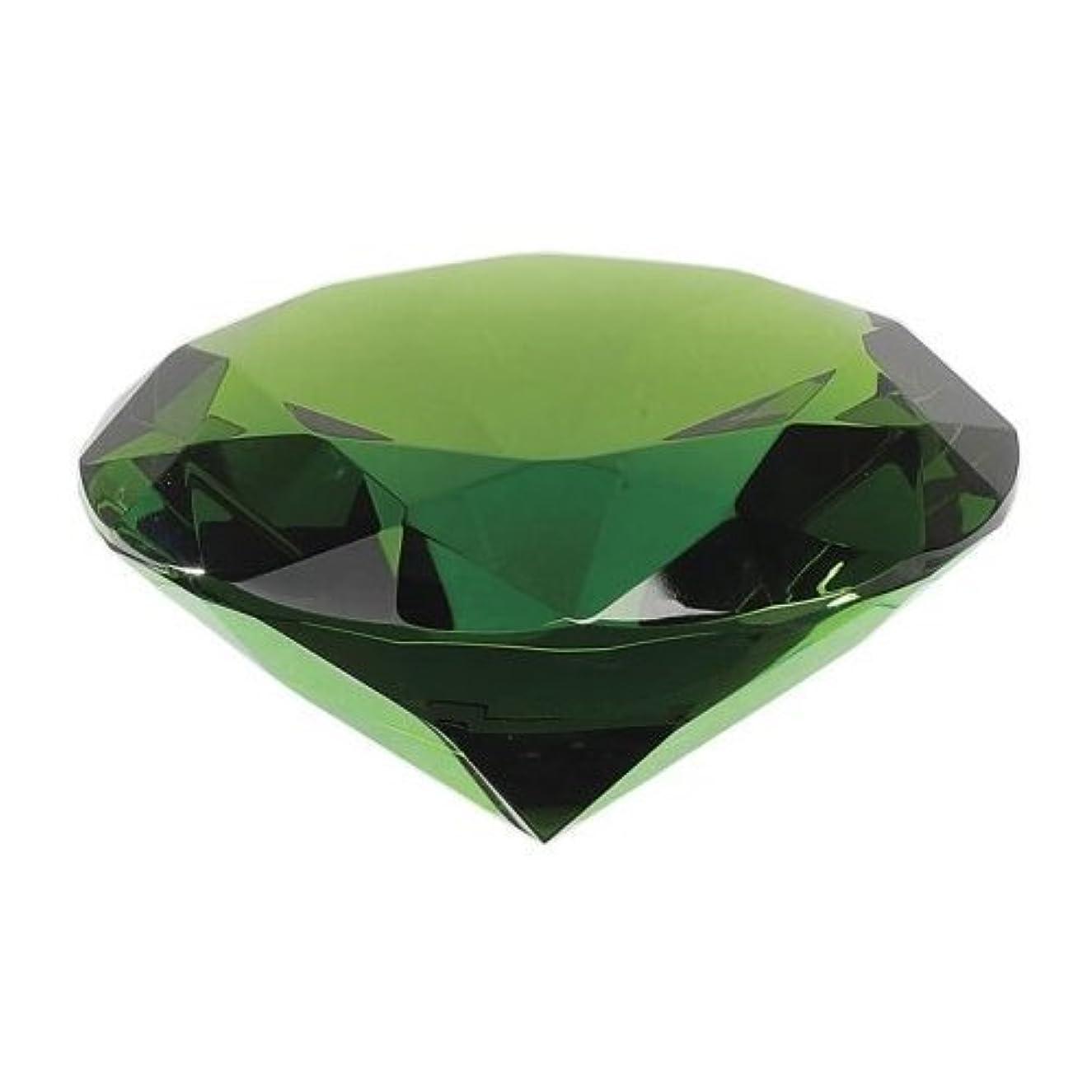 せっかちうなり声避難するクリスタルガラスダイヤモンドカットPaperweight Amber (ダークグリーン)