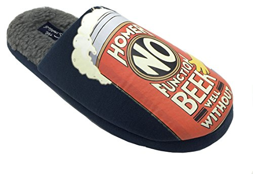 ShuCentre 'Official' Homer Simpson Navy Duff bier grijs bont gevoerde nieuwigheid Slippers