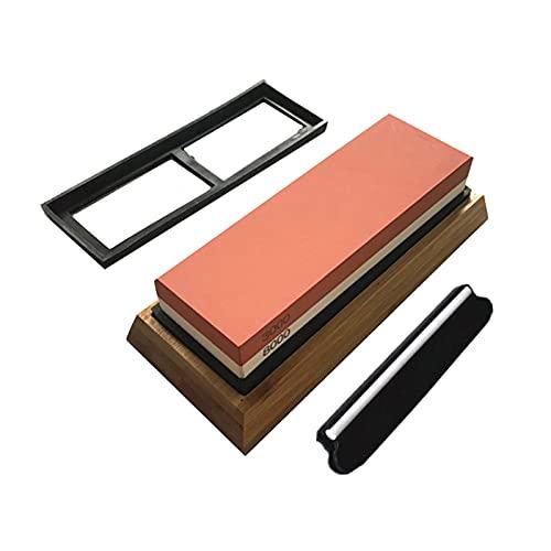 Romacci Afiador de pedra de afiar faca 2 lados Grão 3000/8000 Pedra de amolar com suporte de silicone antiderrapante Kit de ferramentas de afiador de guia de ângulo de base de bambu para cozinha 18 * 6 * 3cm
