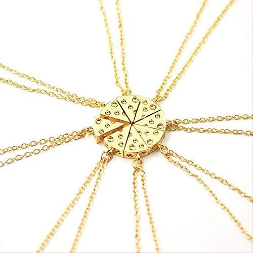 Liuqingzhou Co.,ltd 8 Unids/Set Pizza Queso Colgantes Collares Collar de Amistad de Metal Mejores Amigos para Siempre Recuerdo Regalo de Cumpleaños