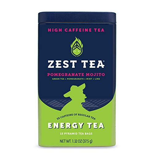 Zest Tea Premium Energy Hot Tea, High Caffeine Blend Natural & Healthy Black Coffee Substitute, Perfect for Keto, 135 mg Caffeine per Serving, Pomegranate Mojito Green Tea, Tin of 15 Sachet Bags