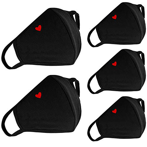 5-Pack Cute Heart Face Protection - with Nose Bridge Wire - Breathable Adjustable Reusable and Washable, Unisex Dustproof Mouth Protector for Women and Men Outdoor Activities