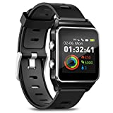 Smartwatch Fitness Armbanduhr Pulsuhren Fitness Uhr mit IP68 wasserdicht Smart Watch GPS Sportuhr 17 Sportmodi Schlafmonitor Schrittzähler Voller Touchscreen Smartwatch