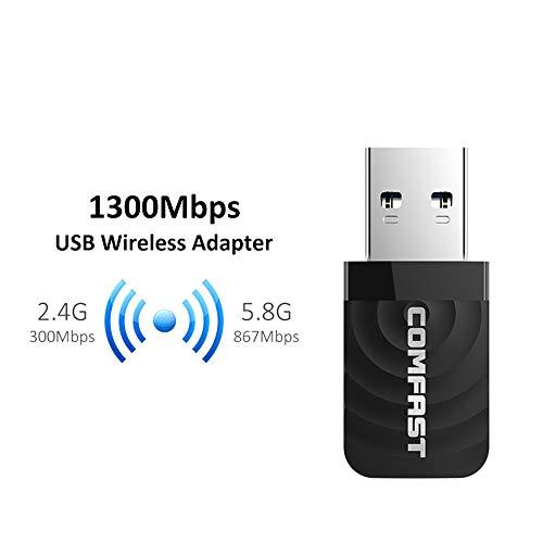 Mini USB WiFi Adapter 1300Mbps WiFi Network Card Dual Band 2.4G/5.8G Wireless AC WiFi Adapter for Windows XP/Vista/7/8/10 Mac OS