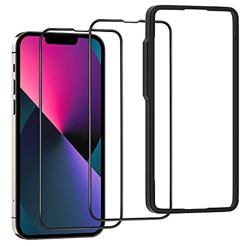 OAproda ガラスフィルム iPhone13 pro / iPhone 13 用 全面 保護 ガラス フィルム フルカバー アイフォン iphone13pro / iphone 13 用 液晶 強化 ガラス フィルム 2枚セット ガイド枠付き