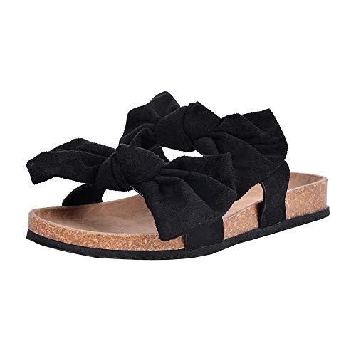 OEAK Damen Pantoffeln Flache Hausschuhe Sommer Flip Flops Pantoletten mit Schleife Casual Bequem Sandalen