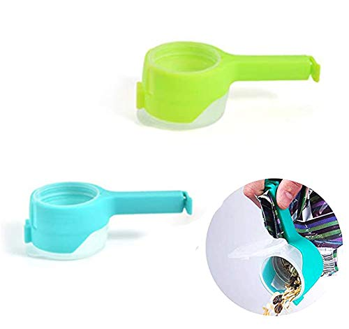 IXIGER Food Bag Clips with Cap,2 PCS Food Sealing Clip Pour Spout Snack Bag Clips Sealer Sealing Clips for Food and Snack Bag Great for Kitchen Food Storage and Organization (Green Blue)