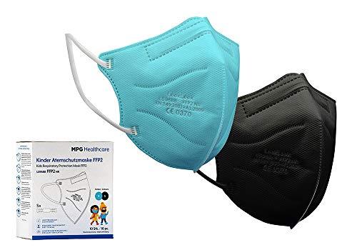MPG Healthcare 10 Stück FFP2 Schutzmasken für Kinder | Schwarz & Türkis | CE0370 - EN 149:2009 Zertifiziert Mund-Nasen-Schutzmaske für Kinder | FFP2 Maske für Kinder