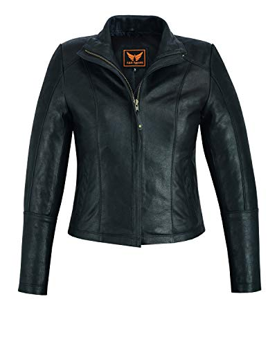 A&H Apparel Women Motorcycle Cowhide Lightweight Leather Jacket Casual (Large, Black)