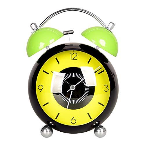 Classique Rétro Silencieux Non Ticking Quartz Double Double Réveille-matin Mouvement Mouvement De Chevet avec Veilleuse Alarme Forte (Color : Green)