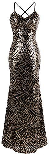 Angel-fashions Damen Isolationsschlauchbügel Leopard Paillette Abendkleid XLarge