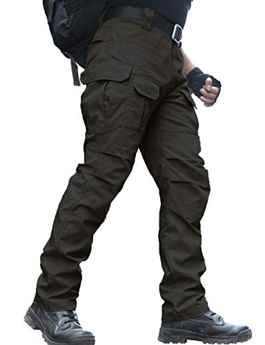 zuoxiangru Wasserfeste Herren Hose Relaxed Fit Tactical Combat Army Cargo Arbeitshose mit Mehrfachtasche (#56 Schwarz, Tag M)