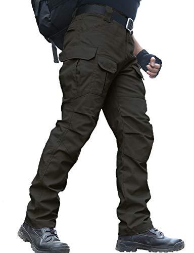 zuoxiangru Wasserfeste Herren Hose Relaxed Fit Tactical Combat Army Cargo Arbeitshose mit Mehrfachtasche (#56 Schwarz, Tag XXL)