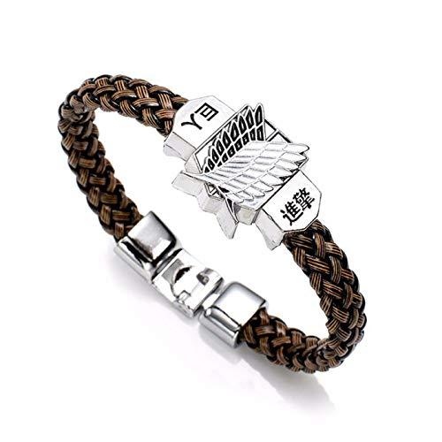 PmseK Pulsera de Moda,Pulsera de Curación Luxury Anime Attack On Titan Charm Bracelet Shingeki No Kyojin Cosplay Unisex Leather Bracelets Wristband Bangles Wristlet