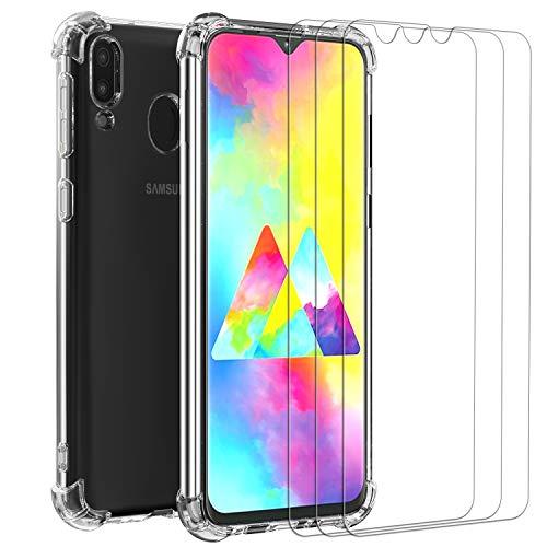 ivoler Klar Hülle für Samsung Galaxy M20 mit 3 Stück Panzerglas Schutzfolie, Dünne Weiche TPU Silikon Transparent Stoßfest Schutzhülle Durchsichtige Kratzfest Handyhülle Case