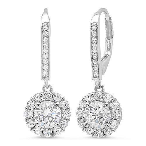 Clara Pucci 3.40 CT Round Cut Solitaire Halo PAVE Drop dangle Lever Back Earrings 14K White Gold