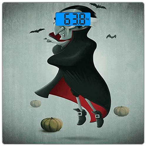 Digitale Präzisionswaage für das Körpergewicht Platz Vampir Ultra dünne ausgeglichenes Glas-Badezimmerwaage-genaue Gewichts-Maße,Gruselige Halloween-Nachtkürbise und alter Vampir mit Kap-Fliegen-Schlä