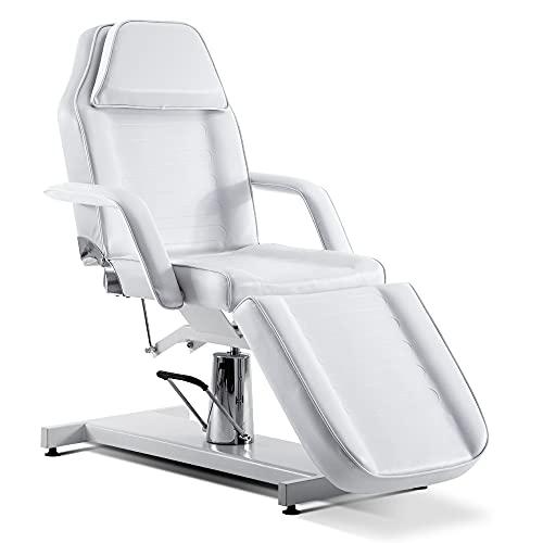 Barberpub Hydraulische Kosmetikliege Therapieliege Massageliege Tattooliege 0006W(Weiß)